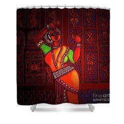 Odissi Dancer Shower Curtain by Latha Gokuldas Panicker