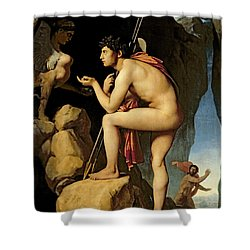 Oedipus And The Sphinx Shower Curtain by Jean Auguste Dominique Ingres