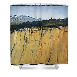 Of Bluff And Mountain Shower Curtain by Carolyn Doe
