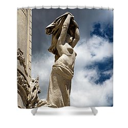 Of Shadow And Sky In Marquis De Pombal Square Shower Curtain by Lorraine Devon Wilke