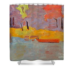 Shower Curtain featuring the painting Of What Shade Of Purple Does My Boat Reflect by Charlie Spear
