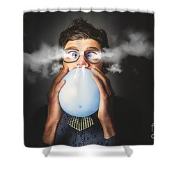 Shower Curtain featuring the photograph Office Party Nerd Blowing Up Birthday Balloon by Jorgo Photography - Wall Art Gallery