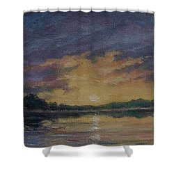 Offshore Sunset Sketch Shower Curtain