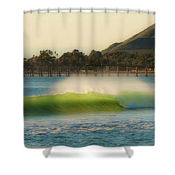 Offshore Wind Wave And Ventura, Ca Pier Shower Curtain