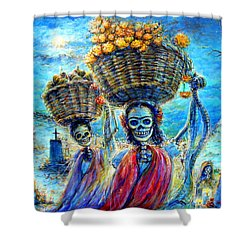 Shower Curtain featuring the painting Ofrendas by Heather Calderon