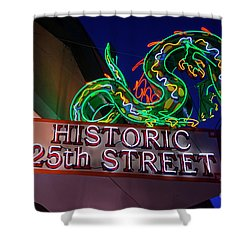 Ogden's Historic 25th Street Neon Dragon Sign Shower Curtain by Gary Whitton