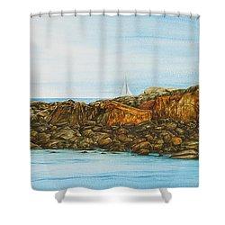 Ogunquit Maine Sail And Rocks Shower Curtain