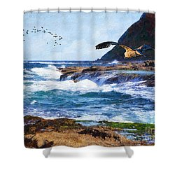 Shower Curtain featuring the painting Oh The Wind And The Waves by Lianne Schneider