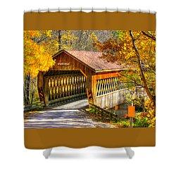 Ohio Country Roads - State Road Covered Bridge Over Conneaut Creek No. 11 - Ashtabula County Shower Curtain