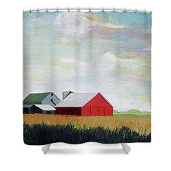 Ohio Farmland- Red Barn Shower Curtain