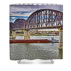 Ohio River Bridge Shower Curtain by Dennis Cox