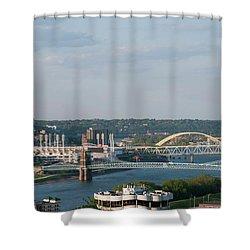 Ohio River's Suspension Bridge Shower Curtain