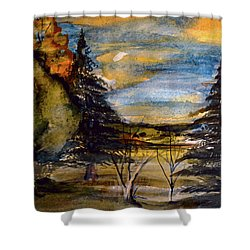 Shower Curtain featuring the painting Ohio Sunset by Mindy Newman