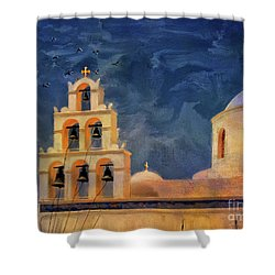 Shower Curtain featuring the photograph Oia Sunset Imagined by Lois Bryan