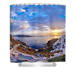 Oia Sunset Shower Curtain by Milos Novakovic