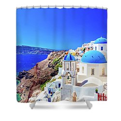 Oia Town On Santorini Island, Greece. Caldera On Aegean Sea. Shower Curtain