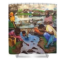 Oil- Africans' Wealth And Woe Shower Curtain