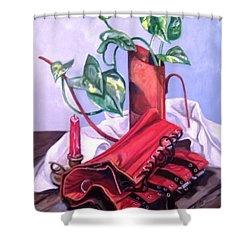 Shower Curtain featuring the painting Oil Can And Corset by Laura Aceto