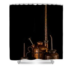 Shower Curtain featuring the photograph Oil Cans by Paul Freidlund