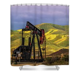 Shower Curtain featuring the photograph Oil Field And Temblor Hills by Marc Crumpler