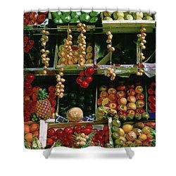 Oil Painted Faux Paris Fruit Display Shower Curtain