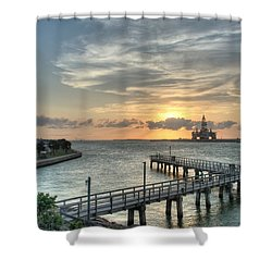 Oil Rig In Gulf Shower Curtain