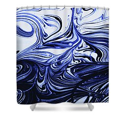 Oil Swirl Blue Droplets Abstract I Shower Curtain