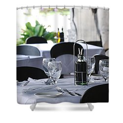 Oils And Glass At Dinner Shower Curtain by Rob Hans