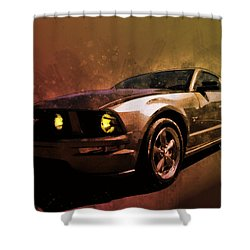 Oily Mustanger Slipping Into Darkness Watercolour Shower Curtain