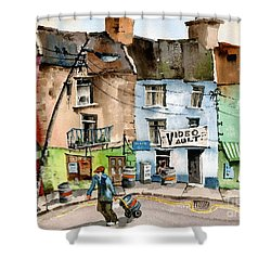 Ok Wheres The Party. Clifden, Galway. Shower Curtain