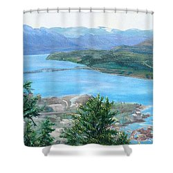 Shower Curtain featuring the painting Okanagan Blue by Bonnie Heather