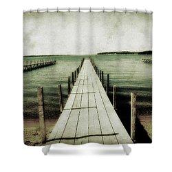 Okoboji Docks Shower Curtain