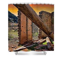 Ol' Building In Desert's Winter Warmth Shower Curtain