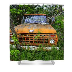Old Abandoned Ford Truck In The Forest Shower Curtain