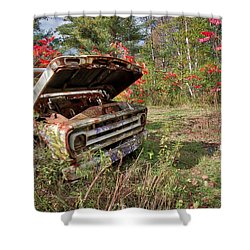Shower Curtain featuring the photograph Old Abandoned Truck Newport New Hampshire by Edward Fielding