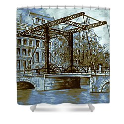 Old Amsterdam Bridge - Blue Water Color Shower Curtain by Art America Gallery Peter Potter