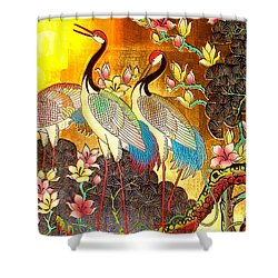 Old Ancient Chinese Screen Painting - Cranes Shower Curtain by Merton Allen