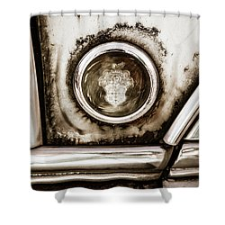 Shower Curtain featuring the photograph Old And Worn Packard Emblem by Marilyn Hunt
