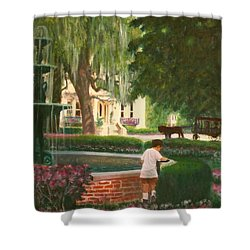 Old And Young Of Savannah Shower Curtain by Ben Kiger
