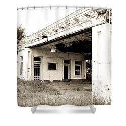 Old Art Deco Filling Station Shower Curtain by Marilyn Hunt