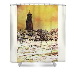 Shower Curtain featuring the painting Old Baldy Lighthouse- North Carolina by Ryan Fox