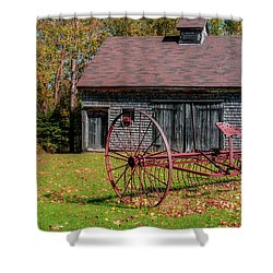 Old Barn And Rusty Farm Implement 02 Shower Curtain by Ken Morris