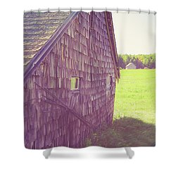 Shower Curtain featuring the photograph Old Barn Andover New Hampshire Sun Flare by Edward Fielding