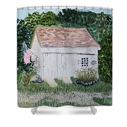 Shower Curtain featuring the painting Old Barn In Eastham Ma by Donna Walsh