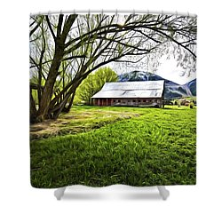 Old Barn In Eden Utah Shower Curtain by James Steele