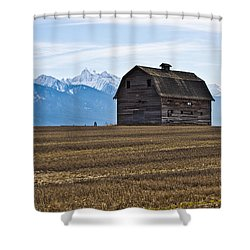Old Barn, Mission Mountains 2 Shower Curtain