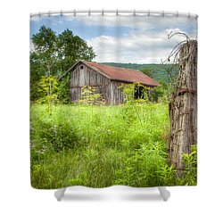 Shower Curtain featuring the photograph Old Barn Near Stryker Rd. Rustic Landscape by Gary Heller