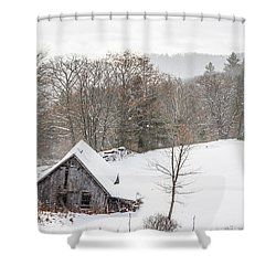 Old Barn On A Winter Day Wide View Shower Curtain
