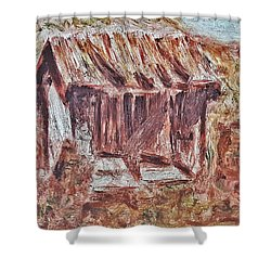 Old Barn Outhouse Falling Apart In Decay And Dilapidation Rotting Wood Overgrown Mountain Valley Sce Shower Curtain