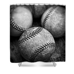 Shower Curtain featuring the photograph Old Baseballs In Black And White by Edward Fielding